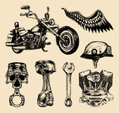 Vector set of vintage bikers elements.Hand sketched motorcyclist symbols collection with custom chopper. Vector set of vintage bikers elements.Hand sketched Royalty Free Stock Images