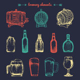 Vector set of vintage brewery elements. Retro collection with beer icons. Lager, ale barrels, bottles etc illustrations. Stock Photos