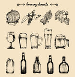 Vector set of vintage brewery elements. Retro collection of beer icons or signs. Lager, ale hand drawn symbols. Vector set of vintage brewery elements. Retro stock illustration