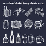 Vector set of vintage brewery elements. Retro collection with beer signs. Barrels, bottles etc. sketched illustrations. Royalty Free Stock Images