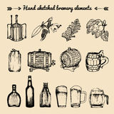 Vector set of vintage brewery elements. Retro collection with beer signs. Barrels, bottles etc. sketched illustrations. Royalty Free Stock Image