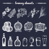 Vector set of vintage brewery hand sketched elements,barrel, bottle,glass,herbs and plants. Retro beer icons collection. Stock Images