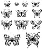 Vector set of vintage butterflies. Hand-drawn ornate butterflies isolated on white background Royalty Free Stock Photo