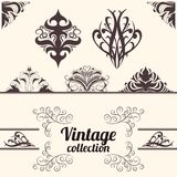 Vector set: vintage calligraphic design elements. Vector set: calligraphic design elements. Vintage decoration collection. Geometric shapes Stock Illustration