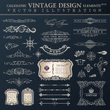 Vector set vintage. Calligraphic design elements and page decoration, collection with black royal ornament
