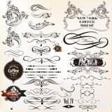 Vector set of vintage calligraphic elements and page decorations Stock Photos