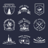 Vector set of vintage camping logos. Retro signs collection of outdoor adventures. Tourist sketches for emblems, badges. Stock Photos