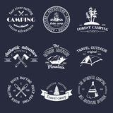 Vector set of vintage camping logos. Retro signs collection of outdoor adventures. Tourist sketches for emblems, badges. Vector set of vintage camping logos Stock Photos
