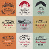 Vector Set of Vintage Car Badges and Sign Stock Photography