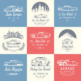 Vector Set of Vintage Car Badges and Sign Stock Images