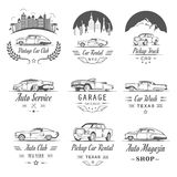 Vector Set of Vintage Car Badges and Sign Royalty Free Stock Image