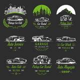 Vector Set of Vintage Car Badges and Sign Royalty Free Stock Photography