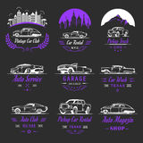 Vector Set of Vintage Car Badges and Sign Royalty Free Stock Photo