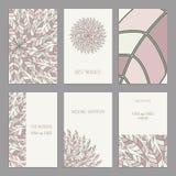 Vector Set of vintage cards  templates editable. Vector Set of vintage cards templates with floral motifs. Oriental pattern. Wedding invitation сard, thank you Stock Photo