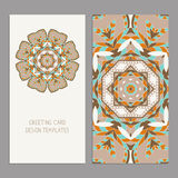 Vector Set of vintage cards  templates editable. Greeting cards templates with floral motifs. Oriental pattern. Mandala. Wedding invitation, thank you, save the Royalty Free Stock Images