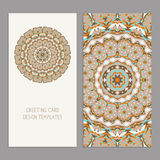 Vector Set of vintage cards  templates editable. Greeting cards templates with floral motifs. Oriental pattern. Mandala. Wedding invitation, thank you, save the Stock Photos