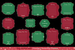 Vector Set of vintage christmas frames. Big Vector Set of vintage christmas frame on black background Royalty Free Stock Image