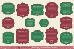 Vector Set of vintage christmas frames. Big Vector Set of vintage christmas frames on retro background Stock Photo