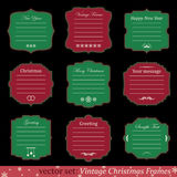 Vector set of vintage christmas frames. On black background Royalty Free Stock Images