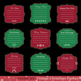 Vector set of vintage christmas frames. On black background Stock Image