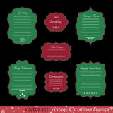 Vector set of vintage christmas frames. On black background Royalty Free Stock Photos