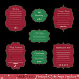Vector set of vintage christmas frames. On black background Stock Images