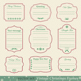 Vector set of vintage christmas frames. On retro background Royalty Free Stock Photography