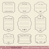 Vector set of vintage christmas frames. On retro background Royalty Free Stock Images