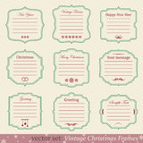 Vector set of vintage christmas frames. On retro background Stock Photo