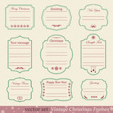 Vector set of vintage christmas frames. On retro background Stock Photos