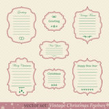 Vector set of vintage christmas frames. On retro background Stock Images