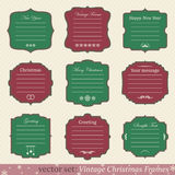 Vector set of vintage christmas frames. On retro background Stock Photography