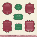 Vector set of vintage christmas frames. On retro background Royalty Free Stock Photos
