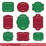 Vector set of vintage christmas frames. On white background Royalty Free Stock Photography