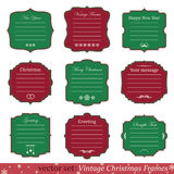 Vector set of vintage christmas frames. On white background Stock Photos