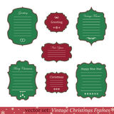 Vector set of vintage christmas frames. On white background Stock Images