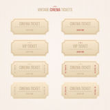 Vector set of vintage cinema tickets. Set of vintage paper cinema tickets. Vector illustration Stock Image