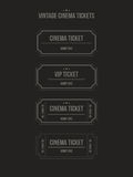 Vector set of vintage cinema tickets. Set of vintage paper cinema tickets. Vector illustration Stock Photos