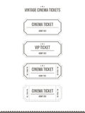 Vector set of vintage cinema tickets. Set of vintage paper cinema tickets. Vector illustration Stock Photography