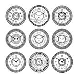 Vector set of vintage clocks. Monochrome pictures isolate. Symbols of time Royalty Free Stock Photos