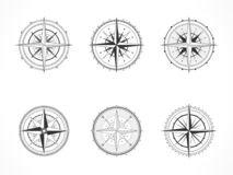 Vector set of vintage compasses or marine wind roses. Collection in line art style. Black line. Isolated on white background royalty free illustration