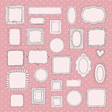 Vector set of vintage cute photo frames on pink polka dot pattern. Royalty Free Stock Images