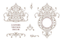 Vector set of vintage decor in Eastern style. Vector set of vintage vignettes, frames in Eastern style. Line art  element for design, place for text.Ornamental Stock Photo