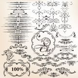 Vector set of vintage decorative calligraphic elements for desig Royalty Free Stock Photography