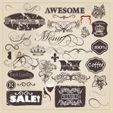 Vector set of vintage decorative calligraphic elements and grung Stock Photo