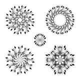 Vector set of vintage decorative elements. Vector set of floral round vintage ornaments Stock Image