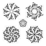Vector set of vintage decorative elements. Vector set of floral round vintage ornaments Royalty Free Stock Image