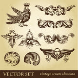 Vector set of vintage design elements Royalty Free Stock Images