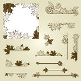 Vector set of vintage design elements with leafs Stock Photos