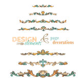 Vector set of vintage design elements and page decorations. Royalty Free Stock Photos